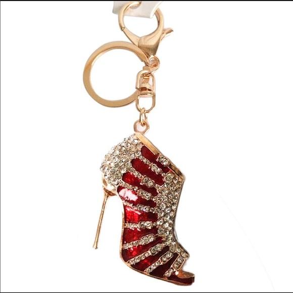 Large Purse Charm Crystal Stiletto Key Chain 9c97b8a9fe